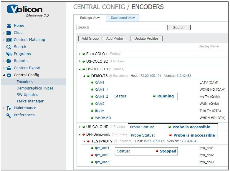 Checking the Encoder Status | Volicon 7 2 Admin Guide